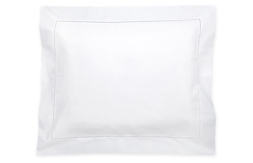 Luca Hemstitch Sham, White