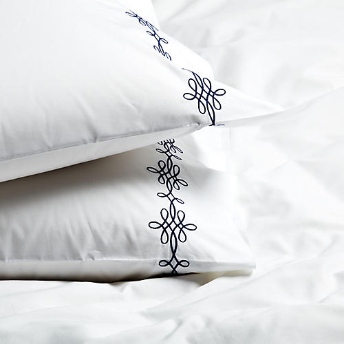 S/2 Bernini Standard Pillowcases, Navy