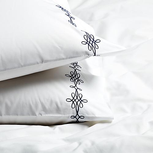 S/2 Bernini Standard Pillowcases, Navy