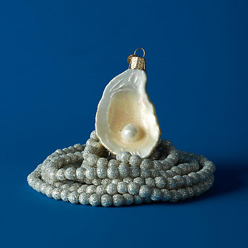 Oyster & Pearl Ornament, Silver/White
