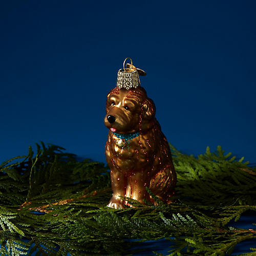 Goldendoodle Dog Ornament, Gold