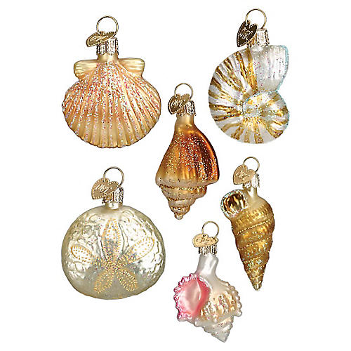 Asst. of 6 Sea Shell Ornaments, Ivory/Multi
