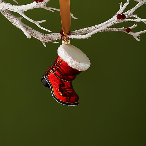 Santa's Red Boot Ornament, Red/White