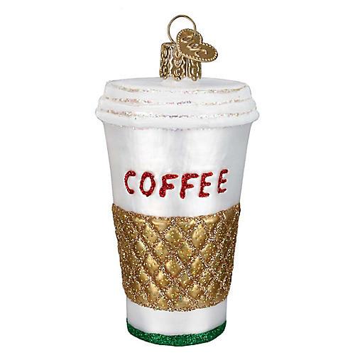 """4"""" Coffee To-Go Ornament, White/Multi"""
