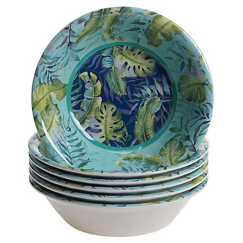 S/6 Almeida Melamine Bowls, Blue/Green