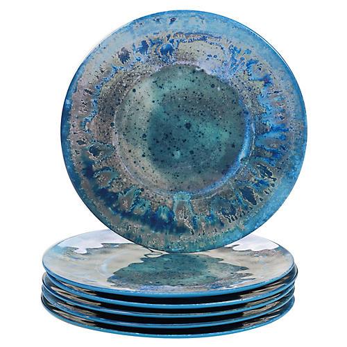 S/6 Morrison Melamine Dinner Plates, Teal