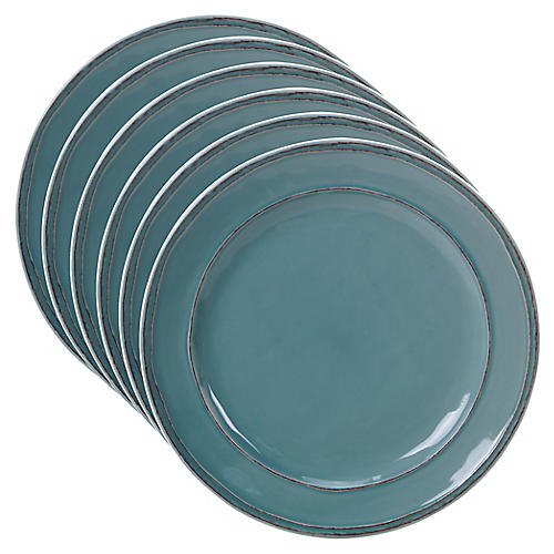 S/6 Misha Dinner Plates, Teal