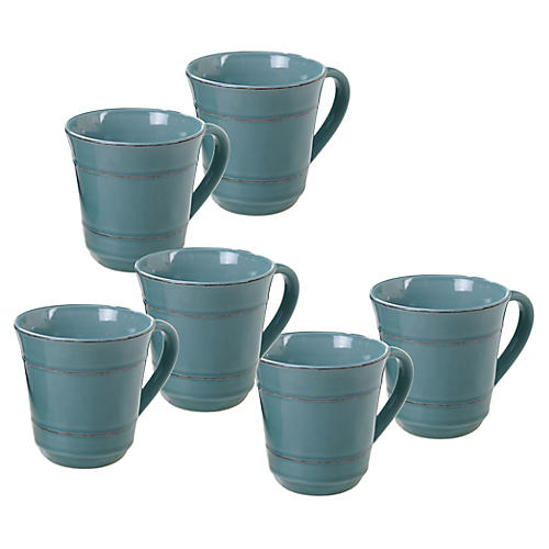 S/6 Misha Mugs, Teal