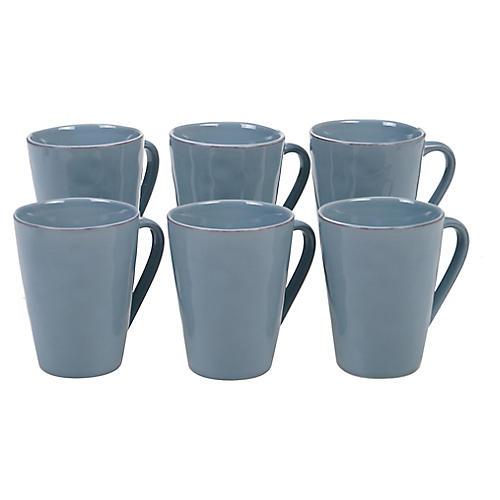 S/6 Salerno Mugs, Teal
