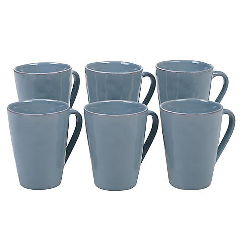 S/6 Salerno Mugs, Teal
