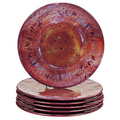 S/6 Morrison Melamine Salad Plates, Red