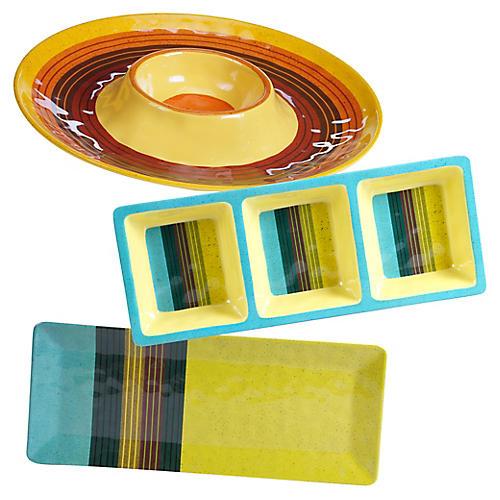 Asst. of 3 Jude Melamine Serveware Set, Yellow