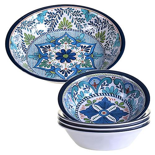 Asst. of 5 Raver Melamine Salad Bowls, Blue/Green
