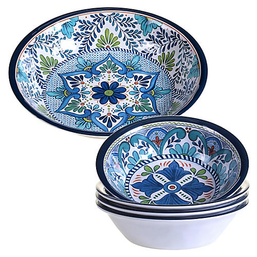 Asst. of 5 Raver Melamine Salad Bowls, Blue/Green