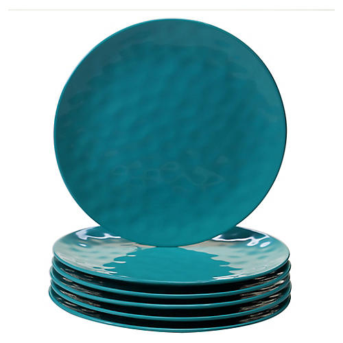 S/6 Wayne Melamine Dinner Plates, Teal