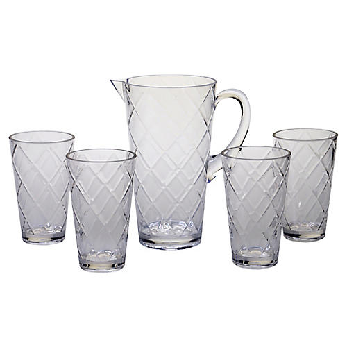 Asst. of 5 Drazen Acrylic Drinkware Set, Clear