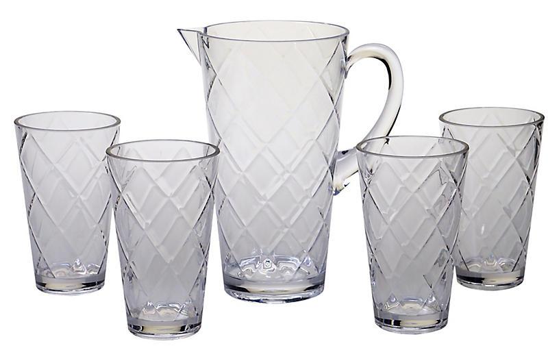 Asst. of 5 Drazen Acrylic Drinkware Set, Clear