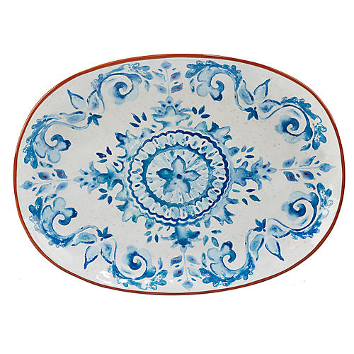 Positano Oval Platter, Blue/White