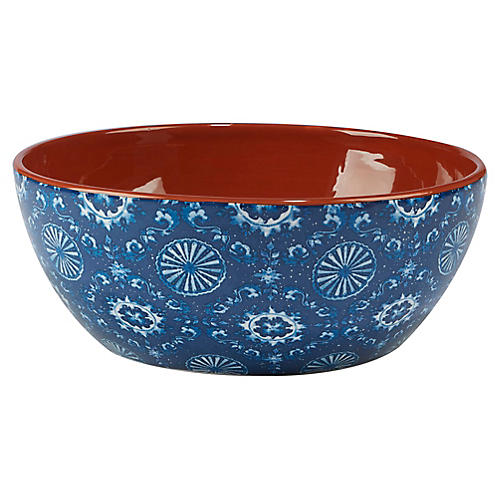 Positano Deep Serving Bowl, Blue/White