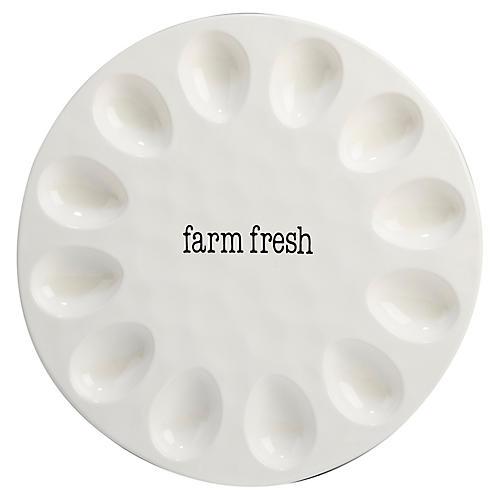 Marini Egg Plate, White