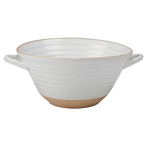 Berkin Deep Serving Bowl, White/Tan