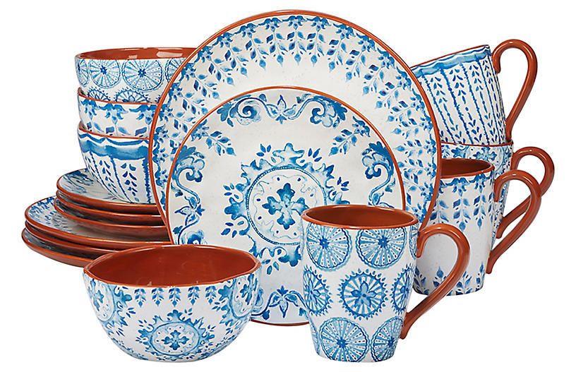 Asst. of 16 Positano Place Setting, Blue/White