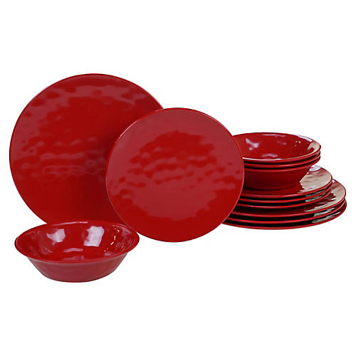 Asst. of 12 Wayne Melamine Place Setting, Red