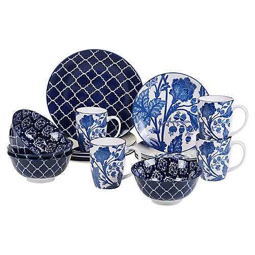 Asst. of 16 Mara Place Setting, Blue