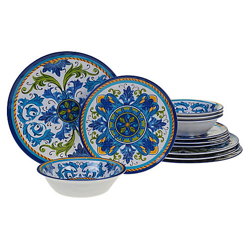 Asst. of 12 Luna Melamine Place Setting, Blue