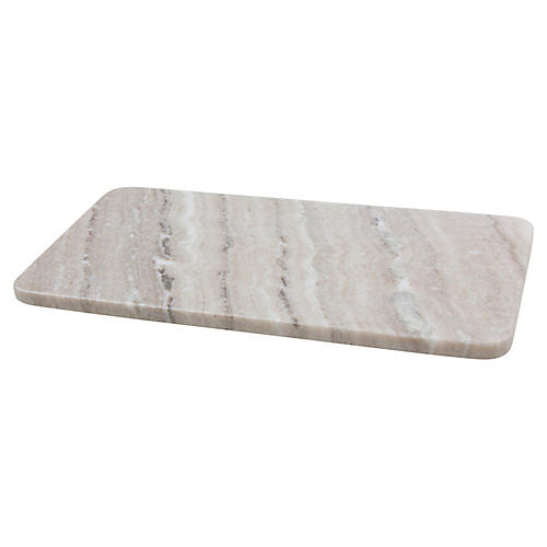 "12"" Kalvin Decorative Tray, Beige Marble"