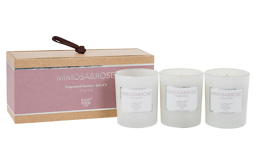 S/3 Pure Candles, Mimosa & Rose