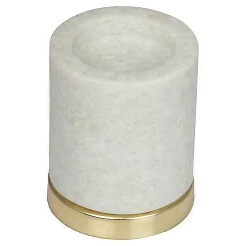 """4"""" Kalvin Candleholder, White Marble/Gold"""