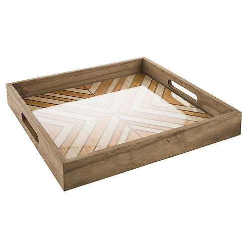 "14"" Witt Decorative Tray, Clear/Natural"