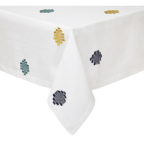 Cap Ferrat Tablecloth, Blue/Multi