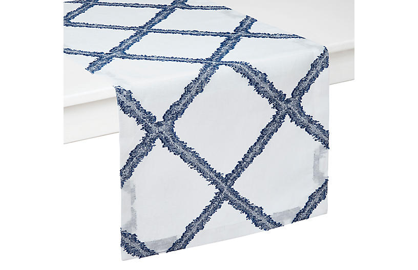 Mykonos Table Runner, Blue/White