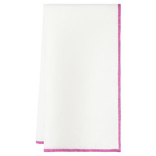 S/4 Bel Air Dinner Napkins, White/Lavender