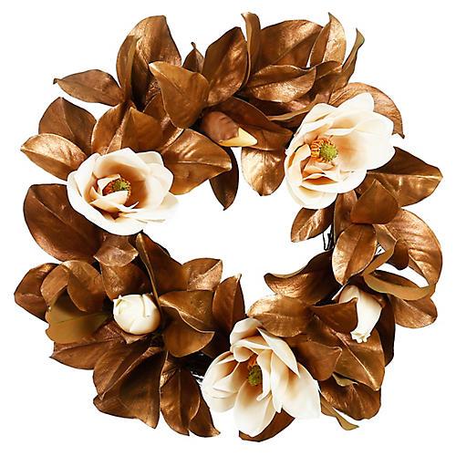 """24"""" White Blossom Magnolia Wreath, Faux"""