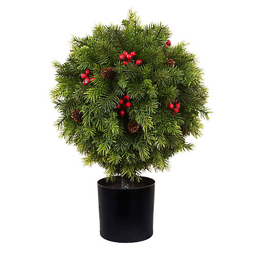 Potted Pine & Berry Topiary, Faux