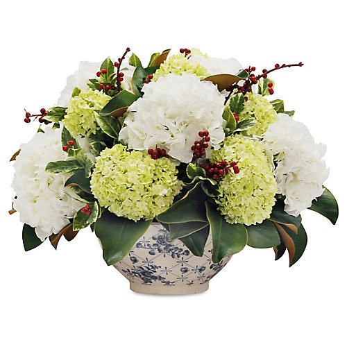 """20"""" Magnolia & Hydrangea Arrangement w/ Bowl, Faux"""