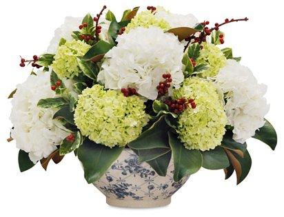 20 Magnolia Hydrangea Arrangement W Bowl Faux One Kings Lane