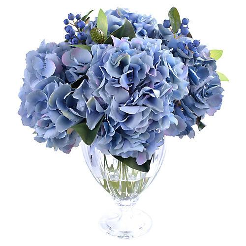 "17"" Lush Hydrangea w/ Vase, Faux"