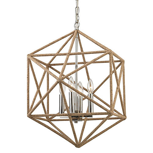 McGuire 4-Light Chandelier, Nickel/Natural