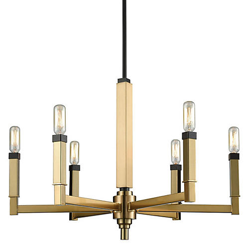 Bosley 6-Light Chandelier, Satin Brass/Bronze