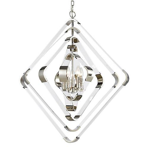 Arkin 5-Light Chandelier, Nickel/Clear