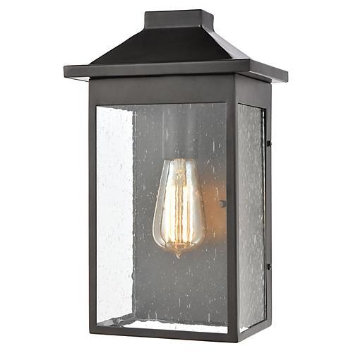 Seeded Glass Outdoor Lantern, Matte Black