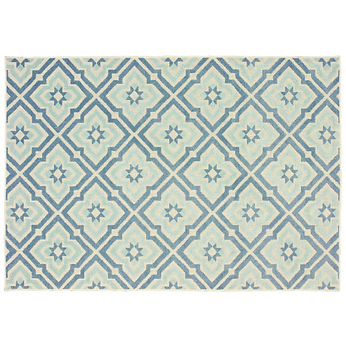 Penniman Outdoor Rug, Blue/Ivory