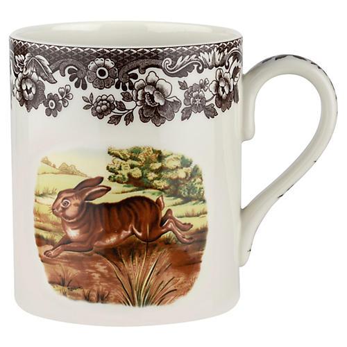 S/4 Rabbit Mugs, White/Brown