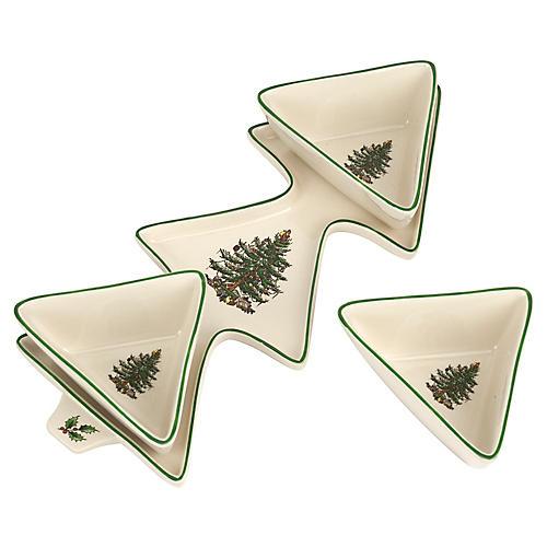 Asst. of 4 Christmas Tree Platter, White/Green