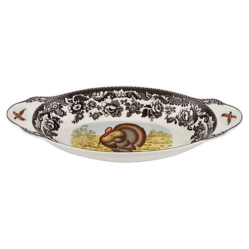 Turkey Bread Tray, White/Brown
