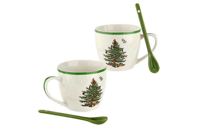 S/4 Christmas Tree Mugs, Green/White